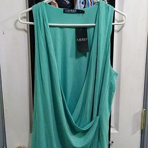 Ralph Lauren, size XL, teal, swooping shirt.